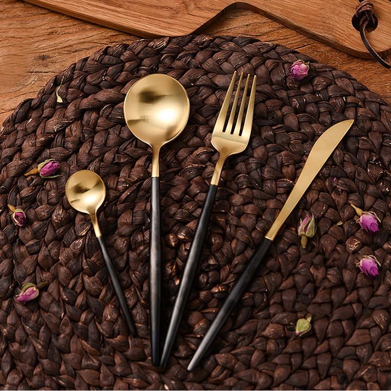 4Pcs/set High Quality 24K Gold Black Cutlery Set Western Stainless Steel Tableware Fork Knife Dinnerware Set Drop Shipping