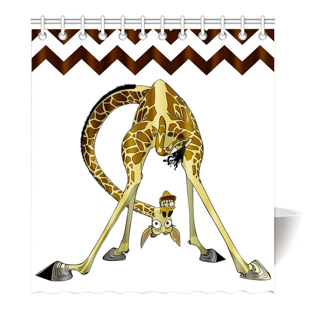 Funny Cartoon Giraffe Shower Curtain Printing Waterproof Mildewproof  Polyester Fabric Bath Curtain Bathroom