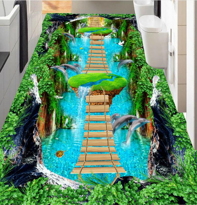 3d Flooring Wallpaper Waterfall Dolphin Bridge Wallpaper For Walls 3 D Living Room Bedroom Wall papers Home Decor 3D Floor Tiles 2017 3d wallpaper walls rose tree swan butterfly 3d mural wallpaper for marriage room living room bedroom wall papers home decor