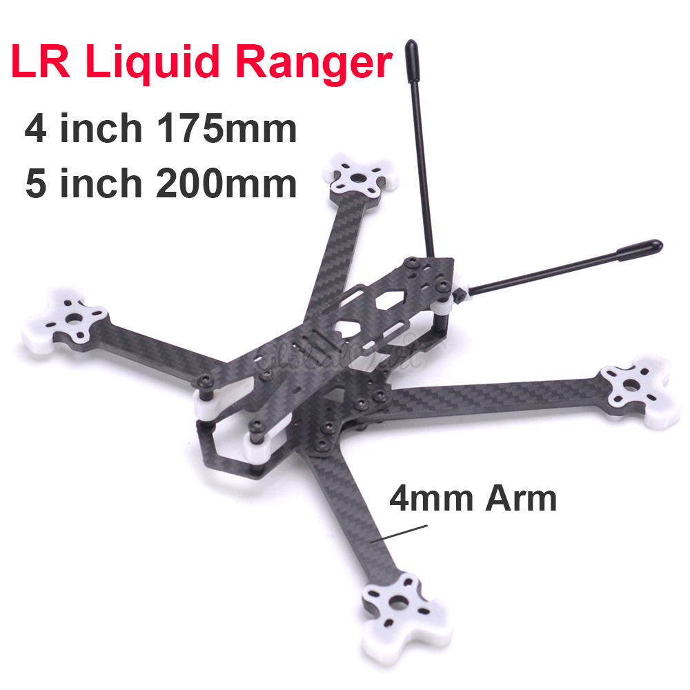LR Liquid Ranger 4 inch 175mm  5 inch 200mm with 4mm Foldable Arms Quadcopter frame drone kit compatible with 20mm28mm Camera