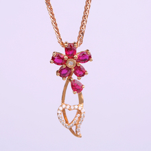 Robira Fashion Flower Heart Pendant Necklace 18K Rose Gold Necklaces & Pendants Jewelry for Women Natural Ruby Sweater necklace