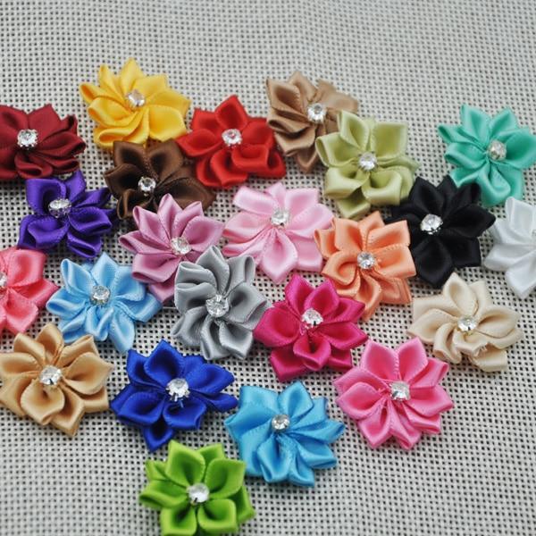 20 шт. атласная лента с бантом и цветами для аппликаций свадебной вечеринки DIY Craft B014