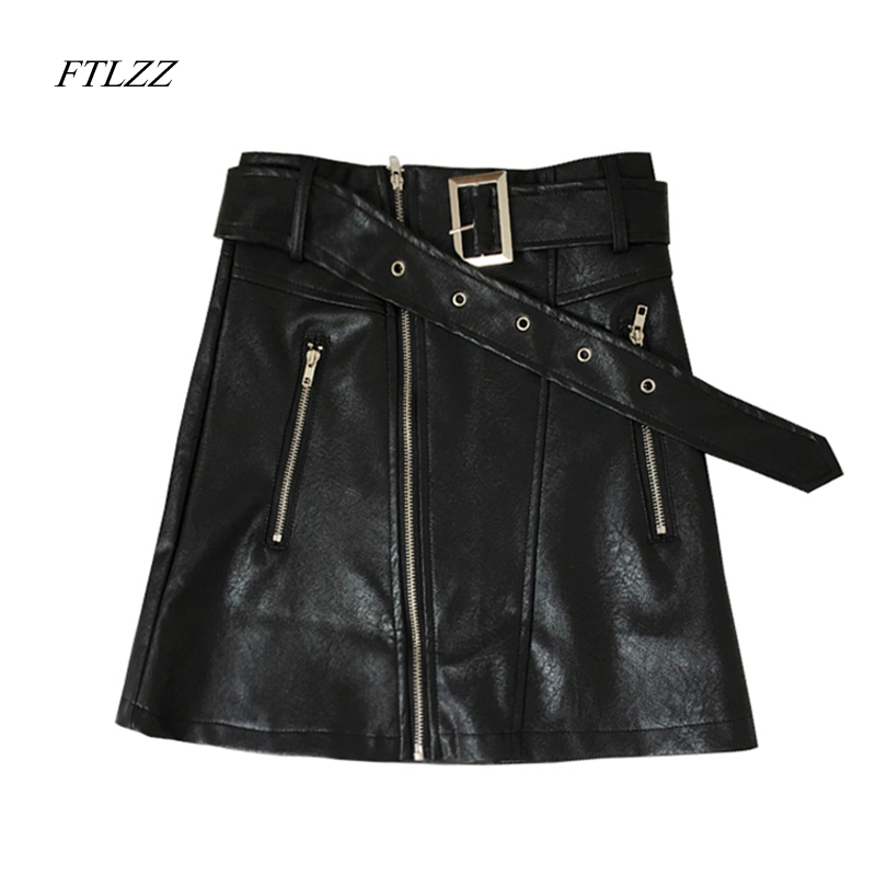FTLZZ 2018 New Spring Summer Women Mini Pu Leather Skirt Zipper High Waist Slim Belt Sexy Black Faux Leather Skirts