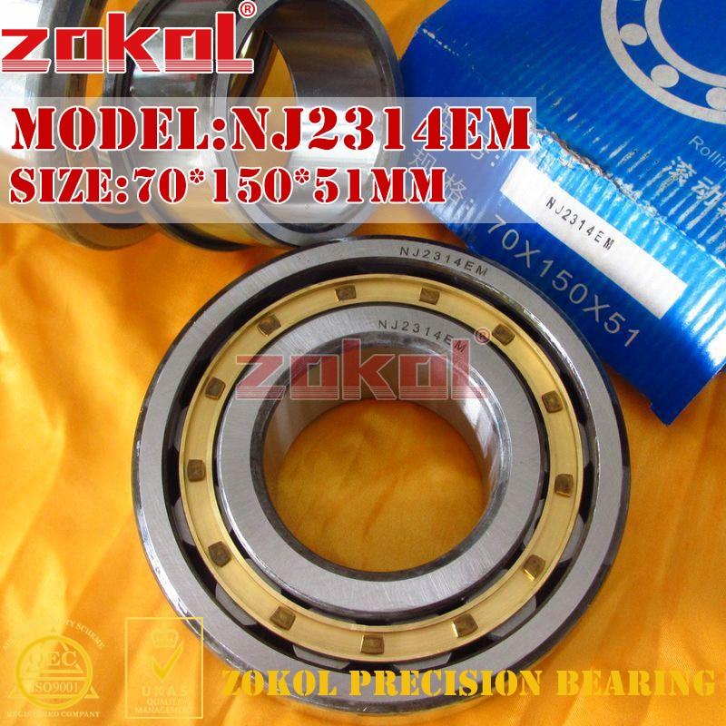 ZOKOL NJ2314 E M bearing NJ2314EM 42614EH Cylindrical roller bearing 70*150*51mm цена