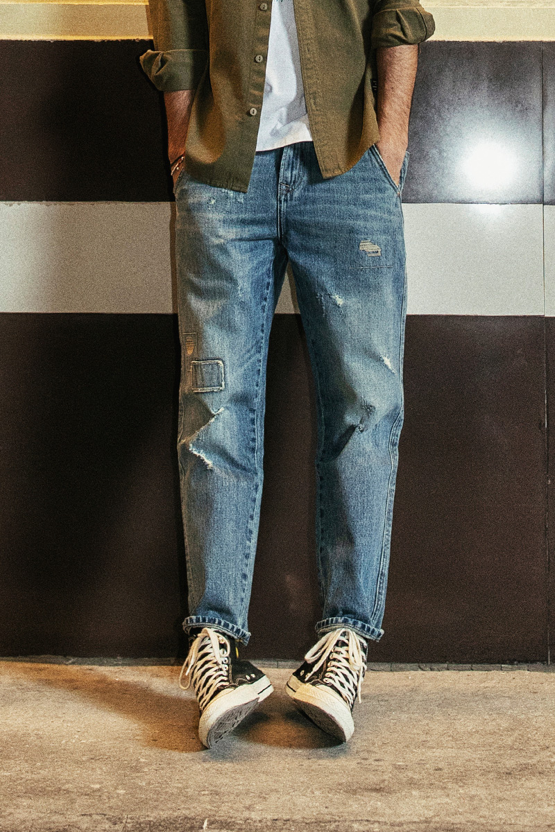 SIMWOOD New 2019 Jeans Men Autumn Fashion Hole Patch Loose Denim Pants Ankle-Length Plus Size Brand Trousers High Quality 190022