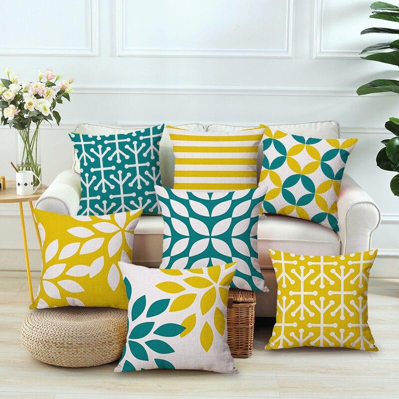 Nordic Yellow Green Geometric Printed Cushion Cover Home Decor Pillow Case Cojines Decorativos Para Sofa Pillow Cover Almofada