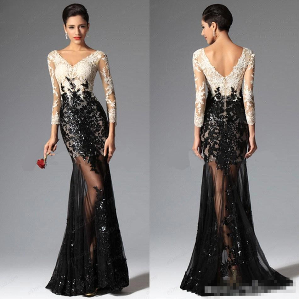 Online Shop Mermaid Prom Dress 2015 White and Black Tulle Sequin ...