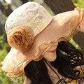 Gran playa de verano sombreros de las mujeres al por mayor sombreros para las mujeres las mujeres de Moda de verano sombrero de sol mujeres flor grande