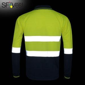 Image 2 - Hi Viz Safety Werk Poloshirt Reflecterende Hoge Zichtbaarheid Lange Mouw Polo Werkkleding Shirt Gratis Verzending
