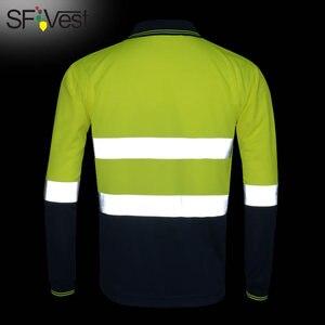 Image 2 - Hi Viz Safety Work polo shirt reflective High Visibility  Long Sleeve Polo workwear Shirt free shipping