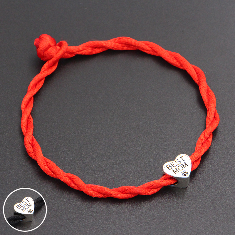 2020 New Best Mom Heart Beads 4mm Red Thread String Bracelet Lucky Red Handmade Rope Charm Bracelet for Women Men Jewelry