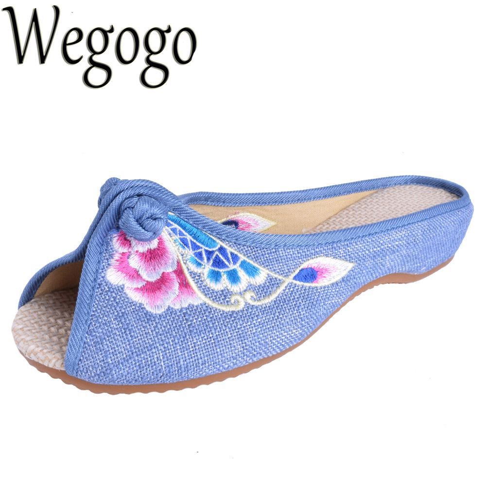 Wegogo Vintage Women Shoes Sandals Summer New Linen Chassis Chinese Embroidered Sandals Slippers sandalias mujer Summer Shoes vintage embroidered women slippers summer new linen chinese canvas old beijing flowers sandals soft shoes size 35 41