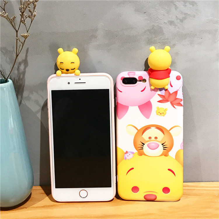 For iPhone 6 6S Cute 3D Cartoon phone Cases For iphone 6 plus 6SP Winnie Pooh Bears tiger Pig toys soft silicon case back cover