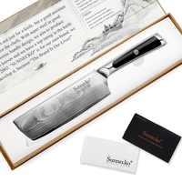 """SUNNECKO 7 """"Кливер ножи накири японский VG10 ядро сталь лезвие бритвы острые Дамасские кухонные ножи G10 Ручка овощерезка"""