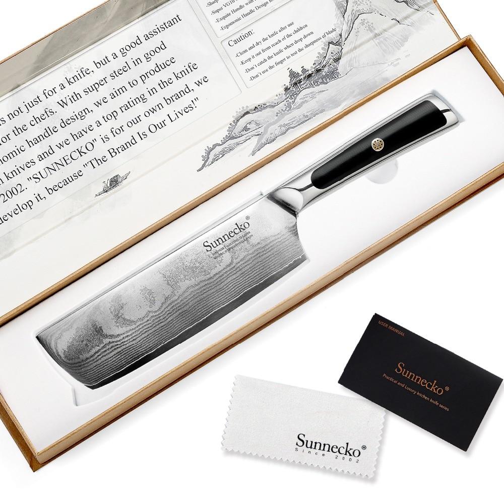 "Sunnecko 7 ""cleaver nakiri knife 일본어 vg10 코어 스틸 블레이드 면도기 샤프 다마스커스 주방 나이프 g10 손잡이 야채 커터-에서주방 칼부터 홈 & 가든 의  그룹 1"