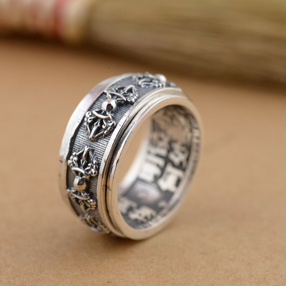 FNJ 925 Silver Rotatable Ring King Kong pestle Buddha Real S925 Sterling Thai Silver Rings for Men Jewelry USA Size 7.5-11 цена