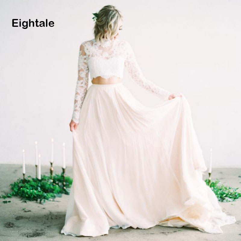 Eightale Two Piece Beach Wedding Dress Boho High Neck Appliques Lace Top A-Line Chiffon Bridal Dress Wedding Gowns With Sleeves