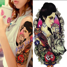 1Pcs Large Wolf Head Temporary Tattoos Cool Sexy Waterproof Tattoos Sticker Women Tattoing Make Up Paint Arm Chest Back Makeup