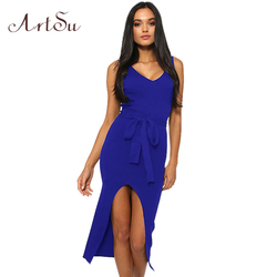 ArtSu Causal Summer Women Solid Dresses Sleeveless Skinny Brand Chic Elegant Sexy Split Long Dress Belt Vestidos ASDR30718 5