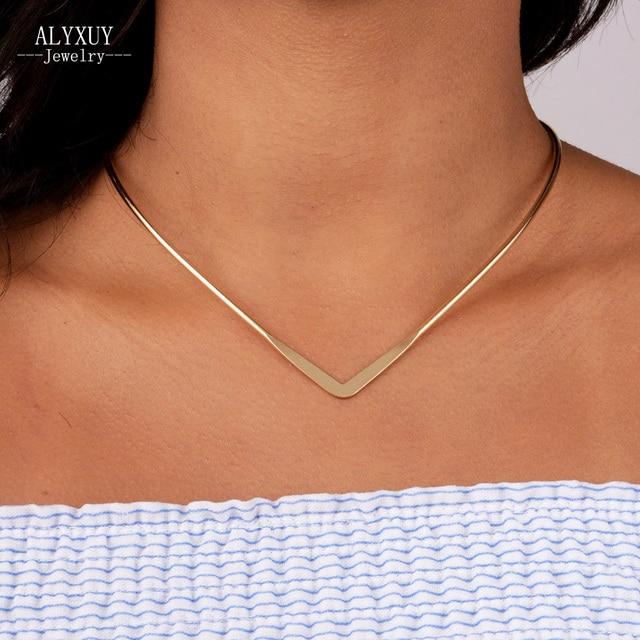 Новая мода ювелирные изделия Простой V Дизайн моменты колье ожерелье для женщин девушки N1819