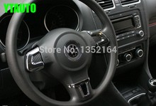 Auto steering wheel cover,interior decoration trim for Volkswagen vw polo 2011 2014 , ABS chrome,auto accessories,3pcs/set.