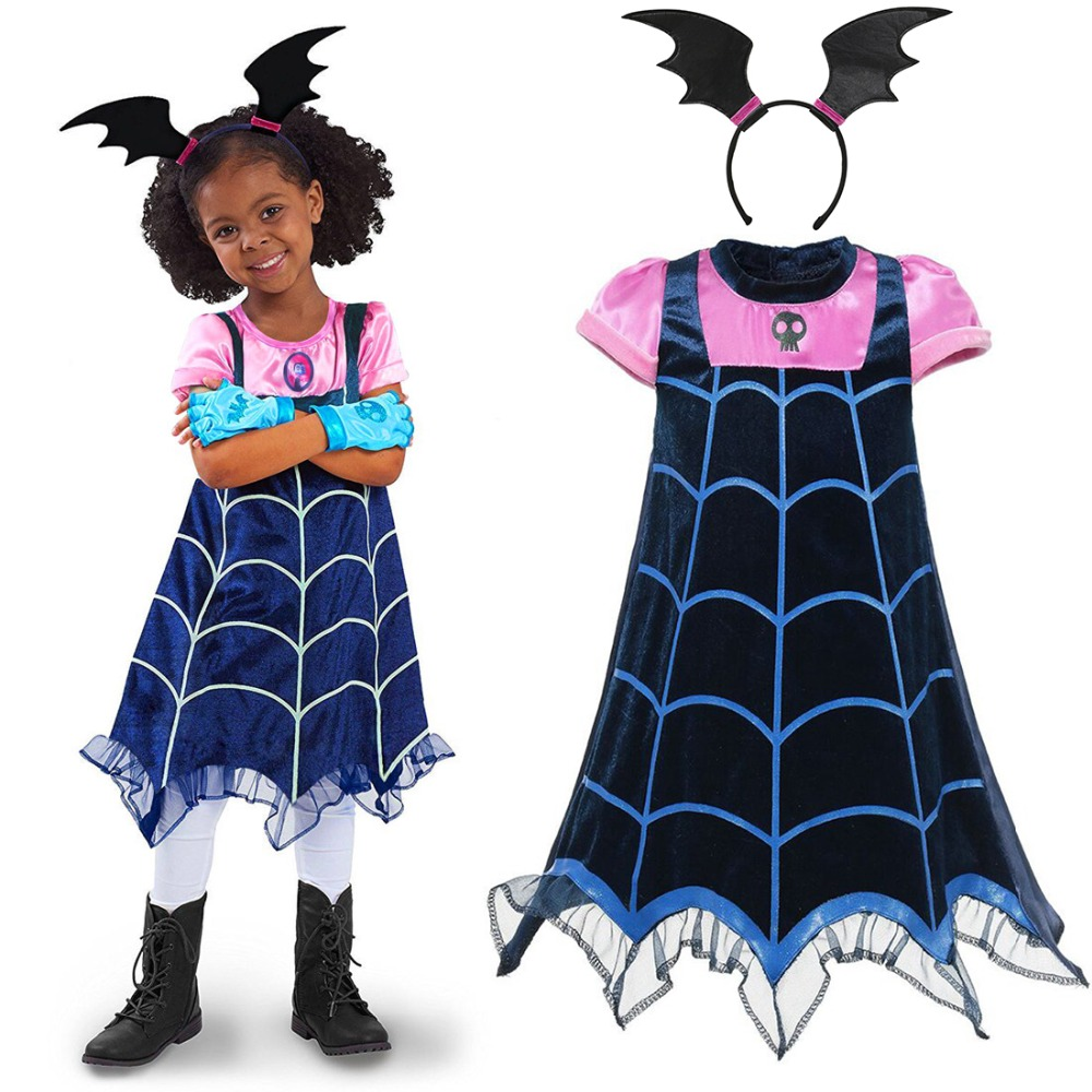 Girls Vampirina Costume Vampire Cosplay Children's Dresses Kids Halloween Carnival Fancy Party Dress For Girl Streetwear Clothes party baby girls little mermaid dress costume bow ariel fancy girl princess cosplay dress kids halloween carnival party clothes