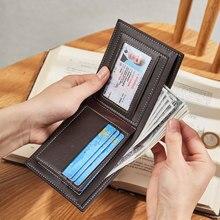 CHALLEN Vintage Men Leather Brand Luxury Wallet Short Slim Male Coin Pocket Purses Money Clip Credit Card Cartera Male Clutch
