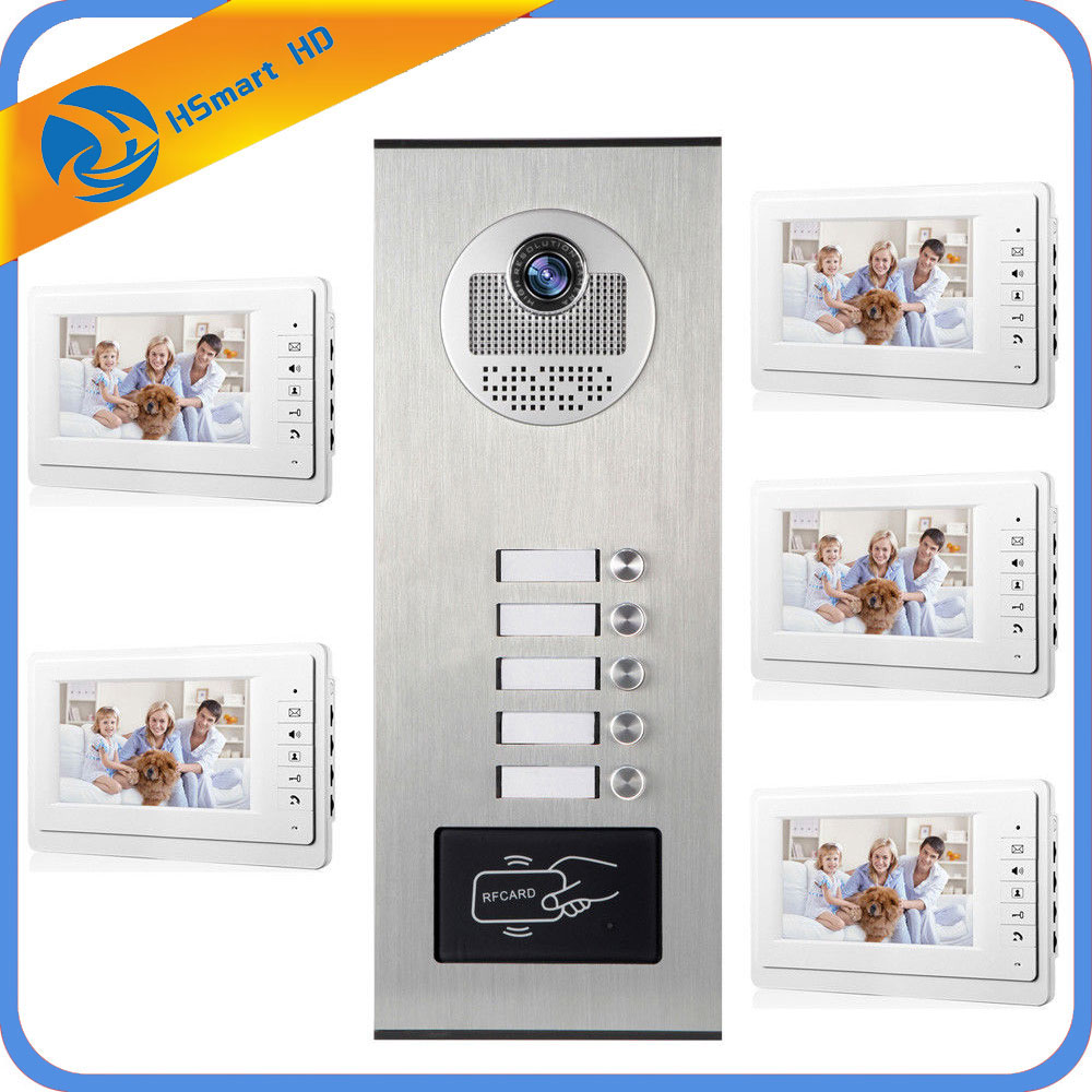 5 Units Apartment Intercom Entry System Wired Audio Video Door Phone Bell RFID Access Cameras for 5 Family House Intercom Kits smartyiba 2 units apartment wired 4 3 monitor rfid video intercom doorbell door phone audio visual intercom entry access system