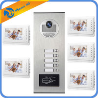 5 Units Apartment Intercom Entry System Wired Audio Video Door Phone Bell RFID Access Cameras for 5 Family House Intercom Kits