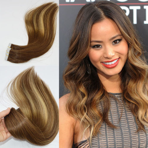 braziliaanse remy ombre tape hair extensions balayage haar kleur 4 27 4 skin weft hair. Black Bedroom Furniture Sets. Home Design Ideas