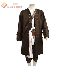 Pirates Of The Caribbean Jack Sparrow Jacket Vest Belt Shirt Pants Costume Set Halloween