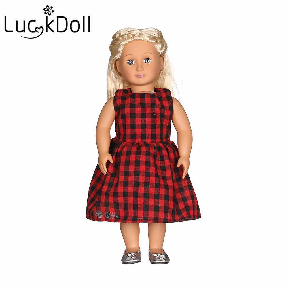 """Luckdoll красное клетчатое платье с шапкой для 18 """"американская кукла и 43"""" Американская кукла, лучший подарок на праздник"""