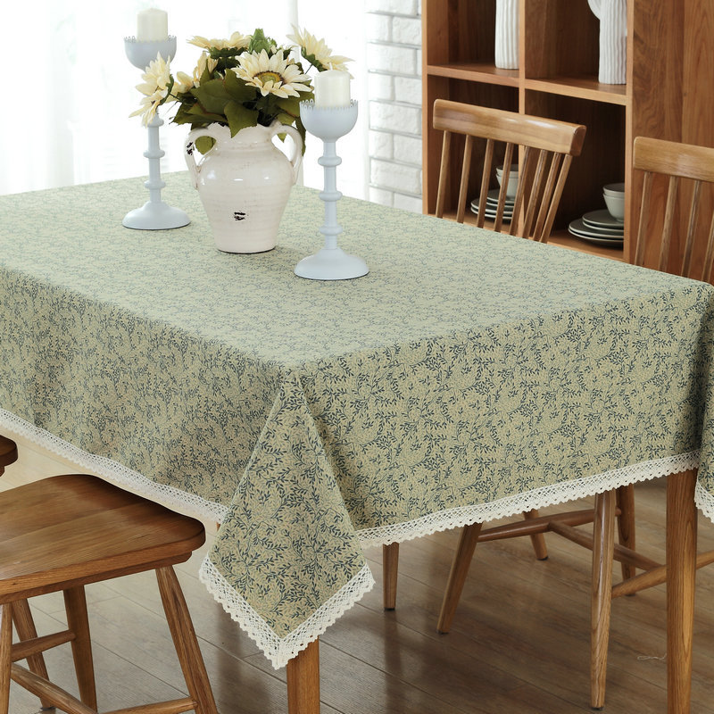 European green Countryside lace floral print cotton polyester Table Cloth party restaurant Home Decoration cover 1pcsprice 6size