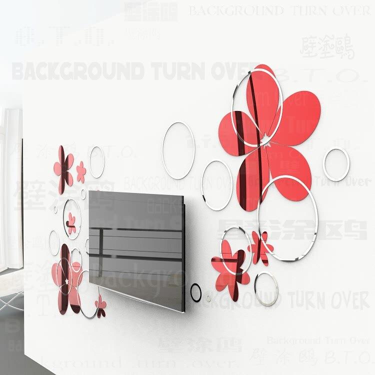 Bricolage diverses couleurs mode créative printemps nature cercle fleur 3D TV mur adhésif miroir mural sticker R017