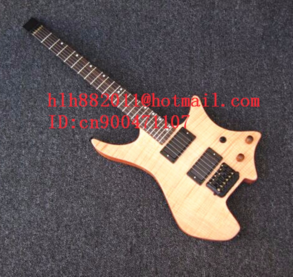 new headless electric guitar in natural with mahogany body+EMS free shipping+foam box LL-37  dhl ems 5 lots new in box om ron d4na 412g e1