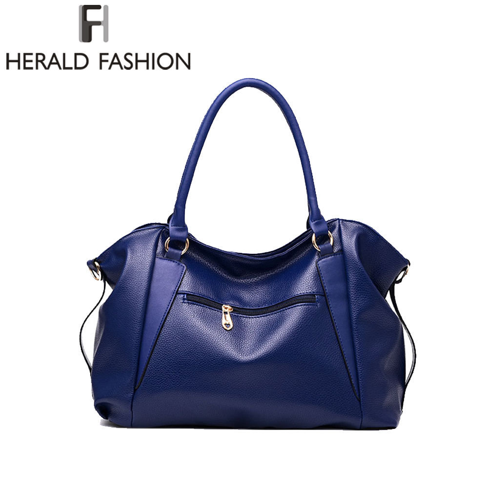 Herald Fashion Designer Women Handbag Female PU Leather Bags Handbags Ladies Portable Shoulder Bag Office Ladies Hobos Bag Totes 2