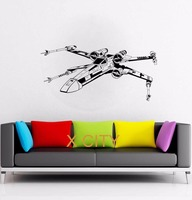 스타 워즈 X 날개 전투기 영화 비닐 데칼 벽 예술 스티커 홈 거실 문 창 스텐실 벽화 장식 22x46