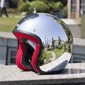 Зеркало Серебро, Хром Vespa Открытым Лицом Мотоциклов Мотоцикл Шлем Harley Ретро Moto Шлемы Шлем Каско Capacete Motoqueiro ТОЧКА