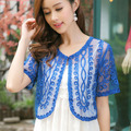 Free Shipping 2016 Female Lace Small Cape Shrug Short Sleeve Summer Thin Casual Blouses Short Cardigan Coats T6297