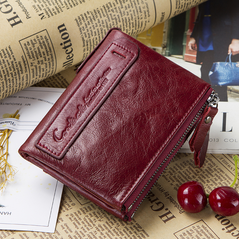 HOT SALE 2019 Coin Bag Zipper Wallet Women Genuine Leather Wallets Purse Fashion Short Purse With Credit Card Holder Hasp Design