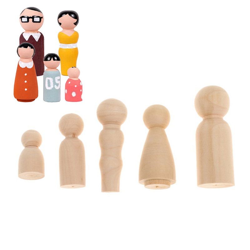 Russian Nesting Doll 5 PCS/set Family Model Blank Wood Unpainted DIY Handicraft Children Educational <font><b>Toys</b></font> image