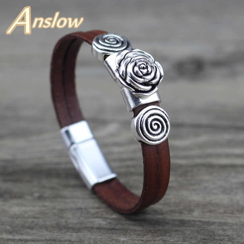 Anslow 2019 Creative Design Fashion Jewelry Vintage Retro Rose Charm Couple Leather Bracelets Party Accessories Gift LOW0723LB