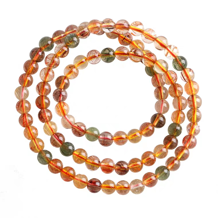Genuine Natural Copper Rutilated Quartz Colorful Crystal Bracelet Women 6mm 7mm 3 Laps Round Beads Wealthy Stone Necklace AAAAA in Bracelets Bangles from Jewelry Accessories