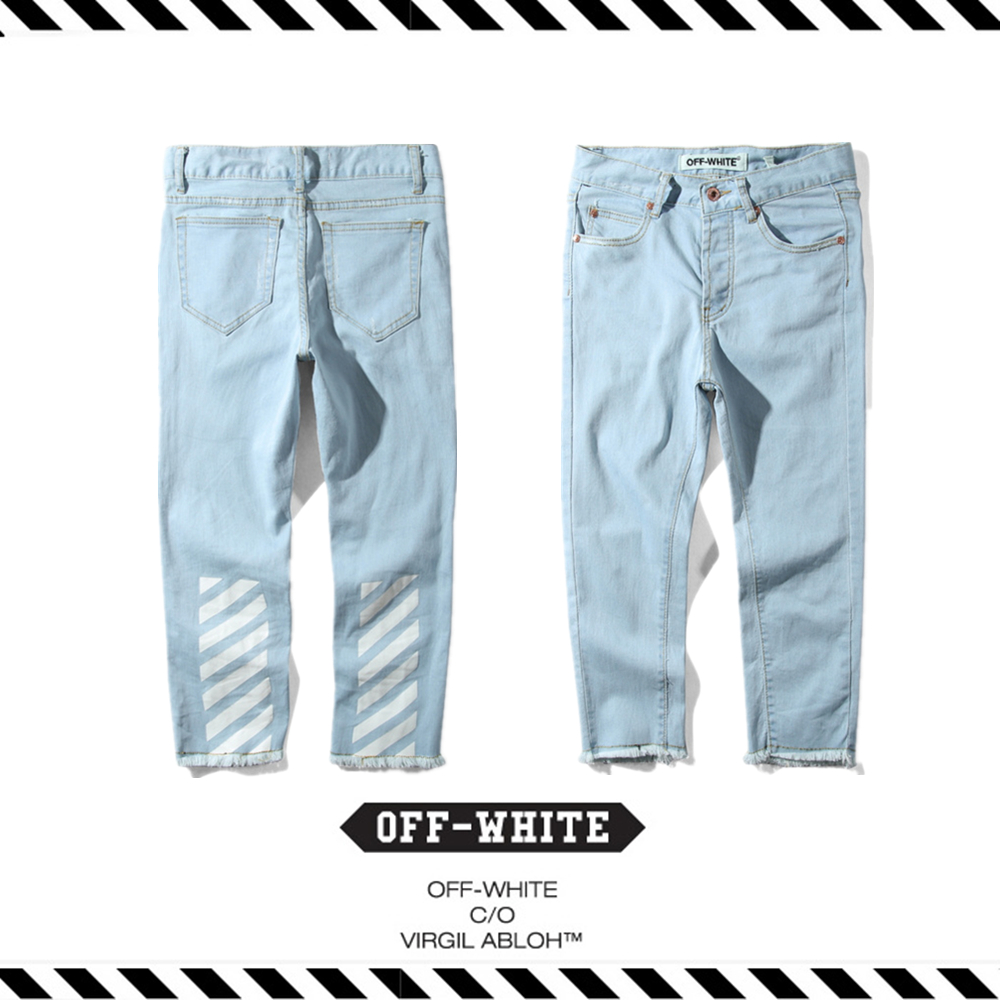ФОТО Best Version 2017 Summer Spring OFF WHITE Stripe Washed Cat Must Hip Hop Justin Bieber Men Ankle-length Pants Casual Jeans