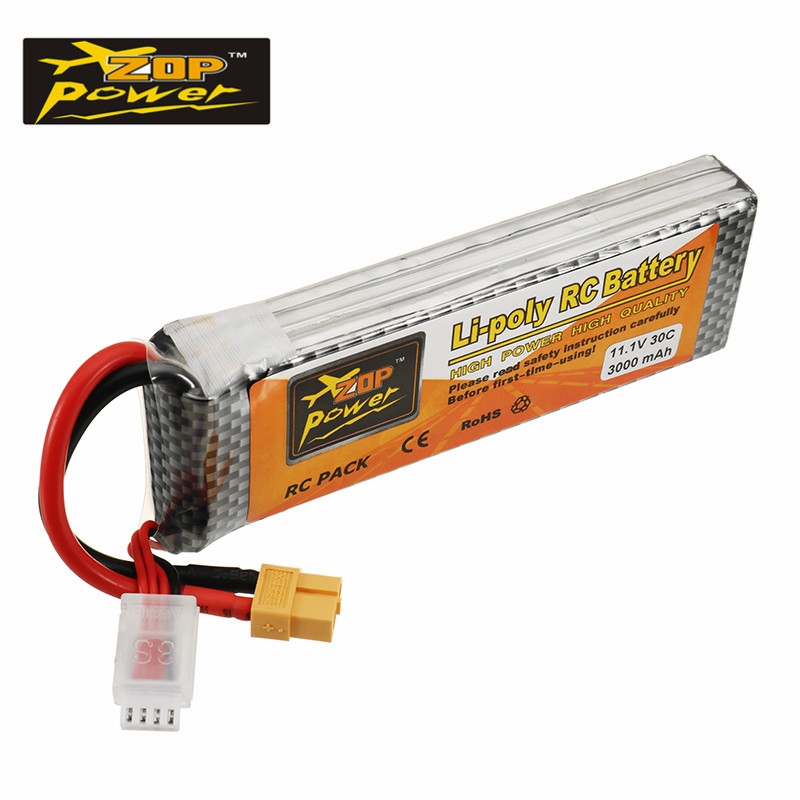 High Quality Rechargeable ZOP Power 11.1V 3000mah 30C 3S Lipo Battery XT60 Plug For RC Helicopter Quadcopter Models Spare Parts high quality zop power 14 8v 2200mah 4s 45c lipo battery t plug rechargeable lipo battery for rc helicopter part