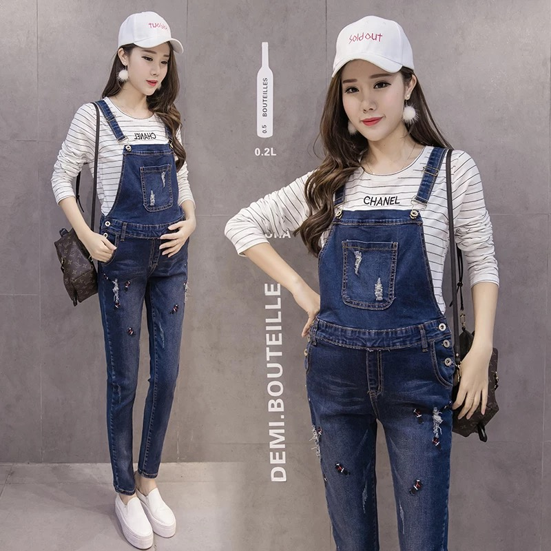 Overalls Trousers Maternity Jeans Pants For Pregnancy Clothes For Pregnant Women Hole Suspenders Jumpsuit Mother Clothing  Рубашка