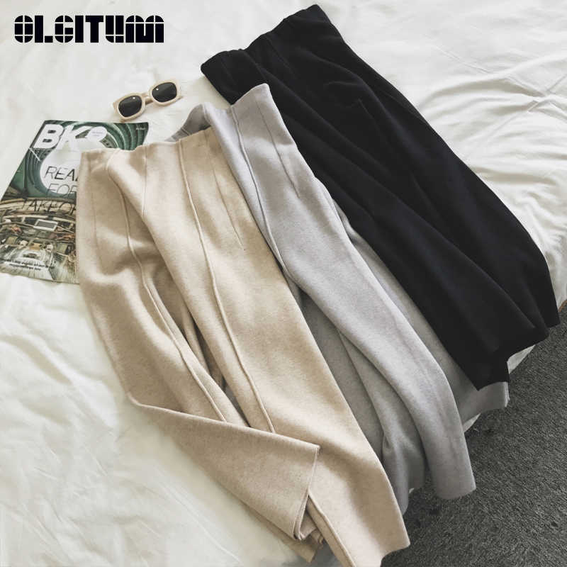 New 2018 Hot Sale Winter Knitted Women Pants High Waist Loose Ankle Length Wide Leg Pants Thicken Warm Trousers Female