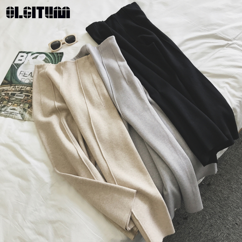 New 2020 Hot Sale Winter Knitted Women Pants High Waist Loose Ankle Length Wide Leg Pants Thicken Warm Trousers Female