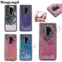 Liquid case for Samsung Galaxy S9 S8 Plus A6 A8 Plus 2018 S6 S7 Edge J5 J7 J3 A3 A5 A7 2017 Glitter Love Silicone PC Full Cover(China)