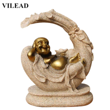 VILEAD Nature Sand Stone Laughing Buddha Figurines Religious Maitreya Statues Miniatures Statuettes Creative Gifts Decor